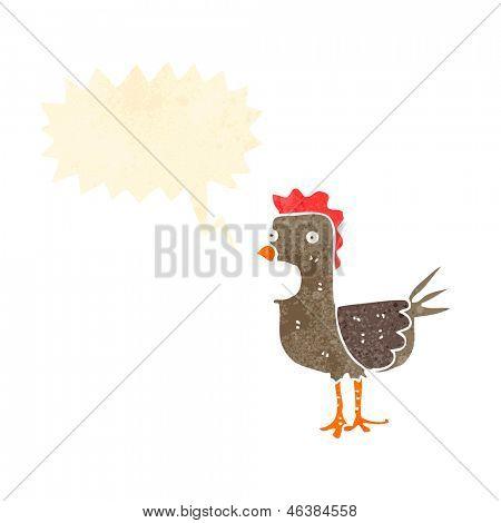 retro squawking cockerel