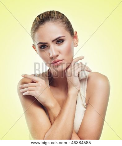 Woman In Perfect Shape. Concept  Healthy Lifestyles. Body And Face Part