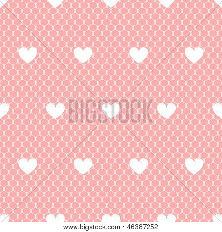 Elegant delicate pink lacy mesh with white hearts seamless pattern, vector