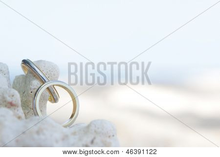 wedding rings on a coral on sand tropical beach