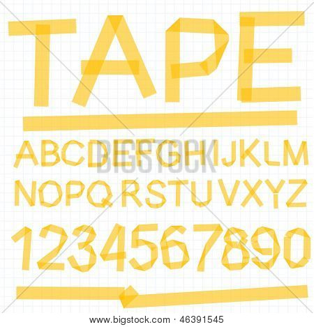 Paper tape alphabet font. Vector.