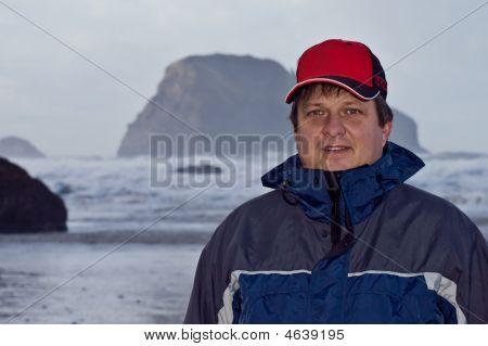 Man On The Ocean Beach