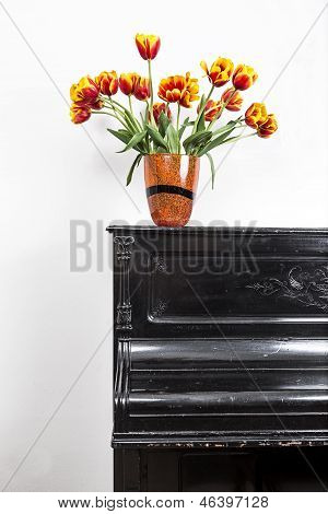 Tulips On Piano