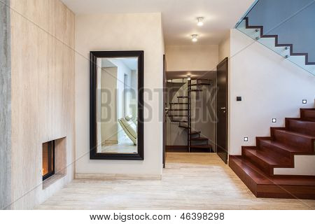 Travertine House: Mirror And Stairs