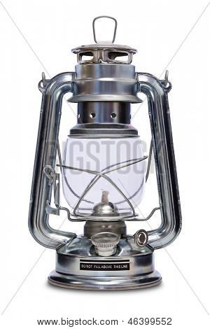 Paraffin lamp also commonly known as a Kerosene, Hurricane, Storm lamp isolated on a white background with clipping path.