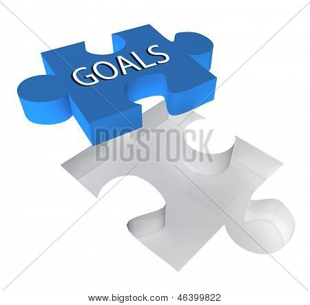 3D puzzle piece with the word goals on it. Great business concept