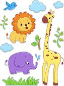 Illustration of Safari Animals Sticker Designs