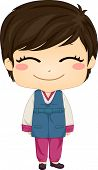 stock photo of hanbok  - Illustration of Cute Little Korean Boy wearing Traditonal Costume - JPG
