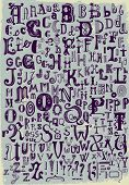 Whimsical Hand Drawn Alphabet Letters, with most common keystrokes: question marks, exclamation poin