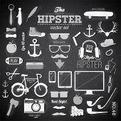Постер, плакат: Битник элементы стиля инфографика и значки для ретро дизайн С велосипедов солнцезащитные очки mustac