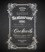 image of chalkboard  - Vintage frame with floral ornament with grunge background for restaurant name design - JPG