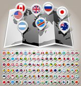 pic of state shapes  - Map world with 108 flags - JPG