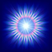 picture of sun flare  - abstract colorful flower over blue background with rays - JPG