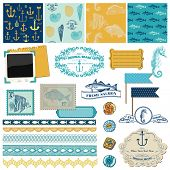 Scrapbook Design Elements - Nautical Sea Theme - for scrapbook and design in vector