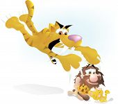 stock photo of saber-toothed  - a mother saber toothed tiger jumping onto a caveman who is petting her cub - JPG