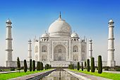 stock photo of mausoleum  - Taj Mahal in sunrise light Agra India - JPG