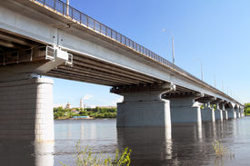 image of kama  - The automobile bridge through Kama in Perm - JPG