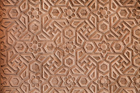 stock photo of swastika  - Geometrical pattern on Red Fort Agra India - JPG