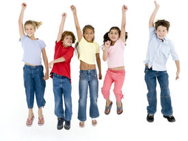 picture of children group  - Studio shot of five young children on white background jumping and smiling - JPG