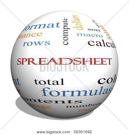 Spreadsheet 3D Sphere Word Cloud Concept