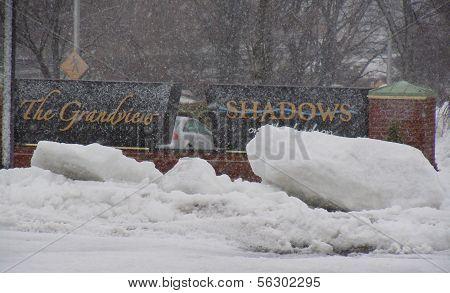 Shadows on the Hudson Snowy Sign