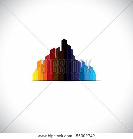 Colorful City Downtown Icon Of Tall Commercial Buildings - Vector Graphic