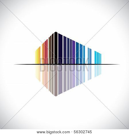 Colorful Abstract Icon Of A Commercial Building Architecture - Vector Graphic