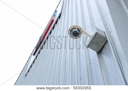 Security Camera Is Install Corner Outside Of Building