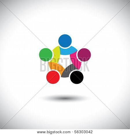 Colorful Abstract Concept Vector Of People Unity, Solidarity
