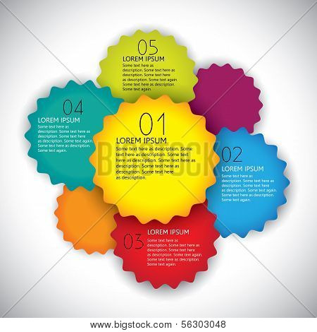 Colorful Vector Design Layout Template With Numbers In Sequence.