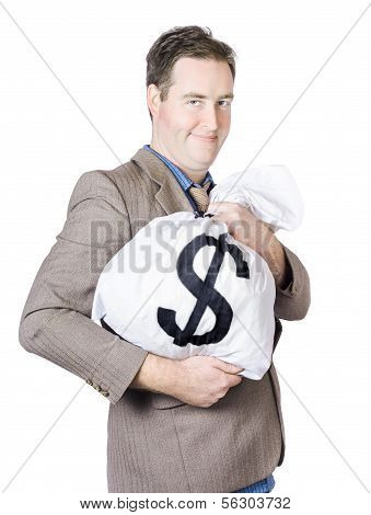 Business Man Holding Money Bag With Dollar Sign