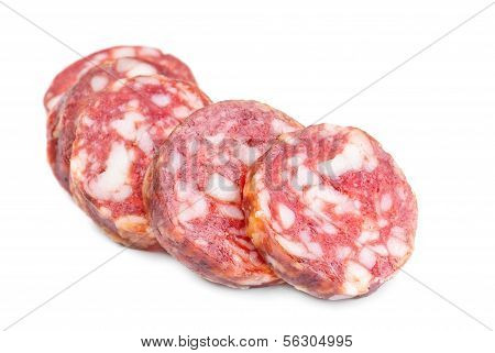 Smoked Sausage Slices On A White Background