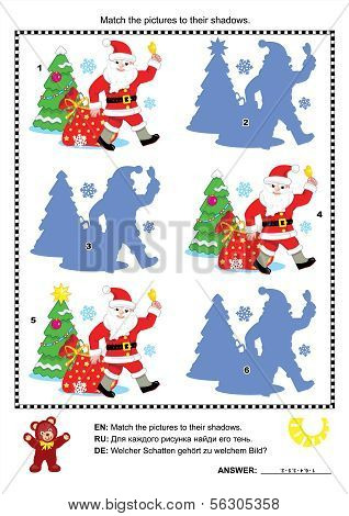 Christmas shadow game with Santa Claus