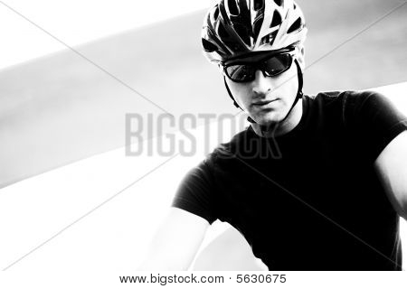 Serious Cyclist In Monotone