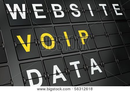 SEO web development concept: VOIP on airport board background