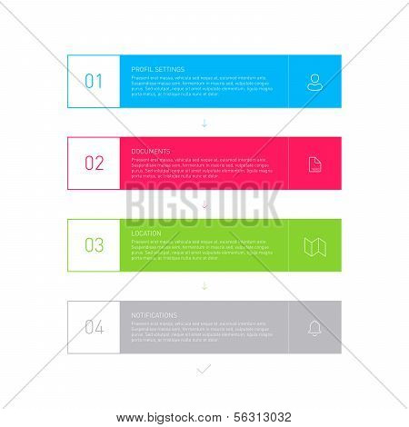 Colorful Blue Step by Step Infographics