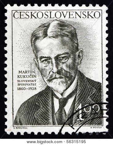Selo postal Checoslováquia 1953 Martin Kukucin, escritor