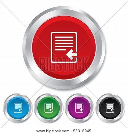 Import file icon. File document symbol.