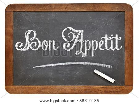Bon Appetit - white chalk text on a vintage slate blackboard