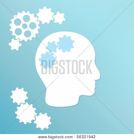 Blue Background With Cogwheel And Head