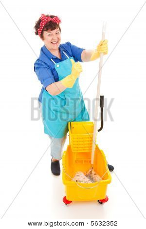 Confident Cleaning Lady