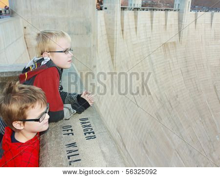 A Pair Of Boys View Hoover Dam