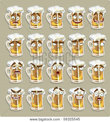cute series of smiles beer stickers