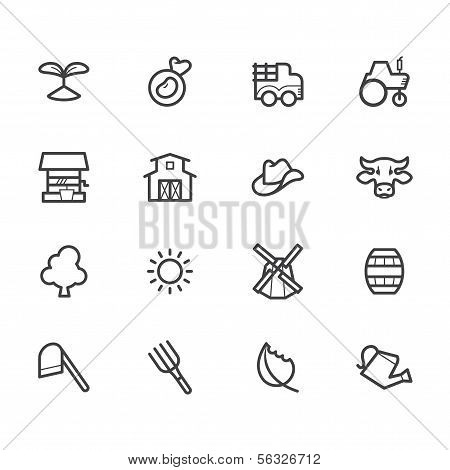 Farm Element Black Icon Set On White Background