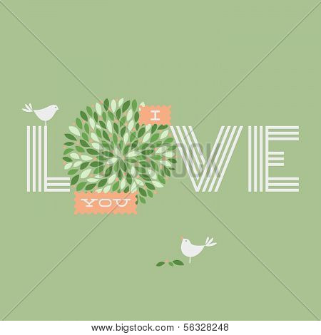 Greeting card with love lettering and two pretty birds. Vector illustration