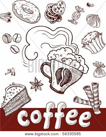 coffee and sweets.Handdrawing