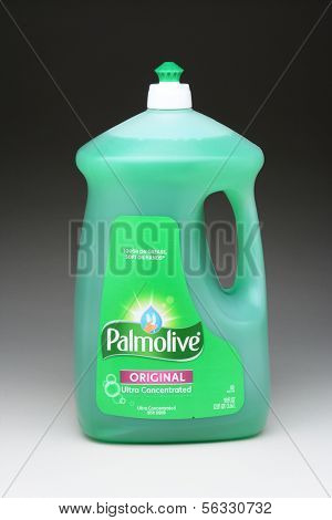 IRVINE, CA - January 21, 2013: A 90 ounce bottle of Palmolive Original Dish Liquid. The Colgate-Palmolive Company, with sales surpassing $15 billion is in over 200 countries.