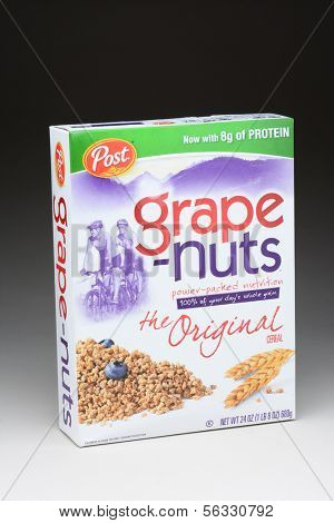 IRVINE, CA - January 11, 2013: A 24 ounce box of Post Grape-Nuts. Developed in 1897 by C. W. Post, the cereal contains neither grapes nor nuts; it is made with wheat and barley.