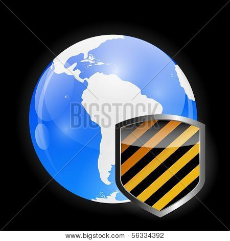 Globe Icon with Protection Shield Vector illustration