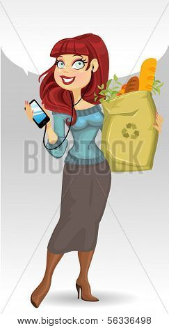 woman with the health food package and phone and speach bubble